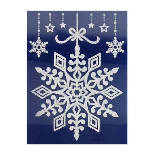 Peha stickervel kerst sneeuwvlokken 29,5 x 40 cm wit