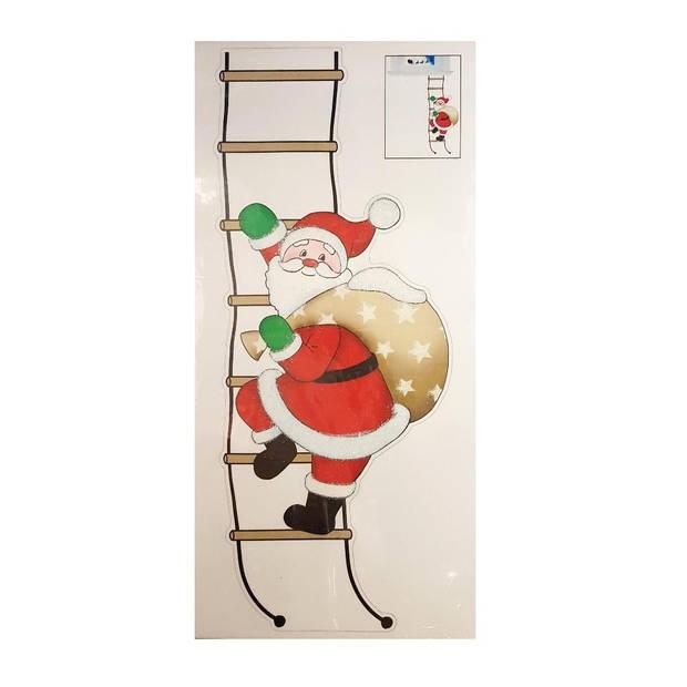 Peha sticker kerstman op ladder 23 x 49 cm rood/wit