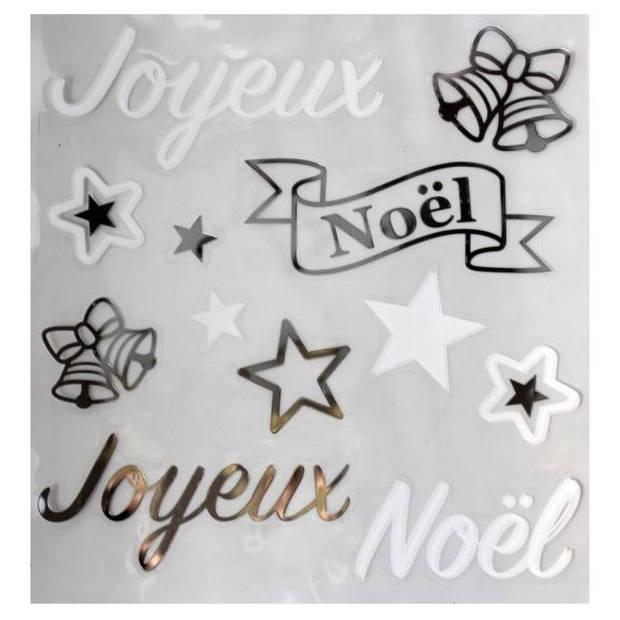 """Peha stickerset """"Joyeux Noël"""" 28,5 x 30,5 cm wit/zilver 12-delig"""
