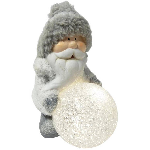 Peha kerstbeeld Kerstman 15,5 cm led keramiek/pluche grijs