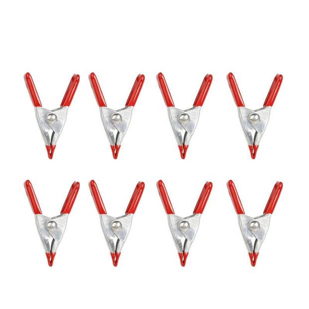 Kikkerland klemmen mini 5 x 2,5 cm staal rood/zilver 8 stuks