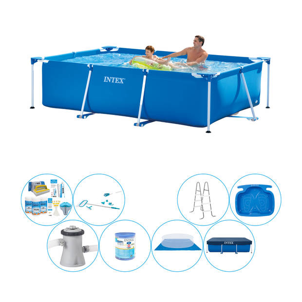 Intex Frame Pool Rechthoekig 260x160x65 cm - Alles in 1 Zwembad Pakket