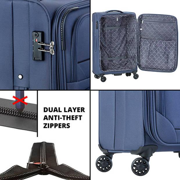 Cambridge 325 XL Middenmaat Reiskoffer - 72cm met TSA-slot – Expander - Voorvakken - Blauw