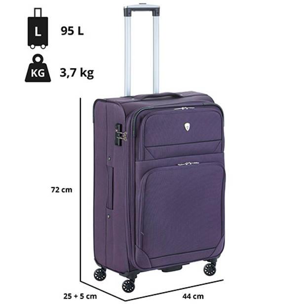 Cambridge 325 XL Middenmaat Reiskoffer - 72cm met TSA-slot – Expander - Voorvakken - Paars