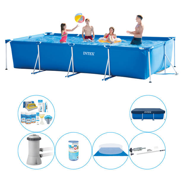 Intex Frame Pool Rechthoekig 450x220x84 cm - Zwembad Inclusief Accessoires