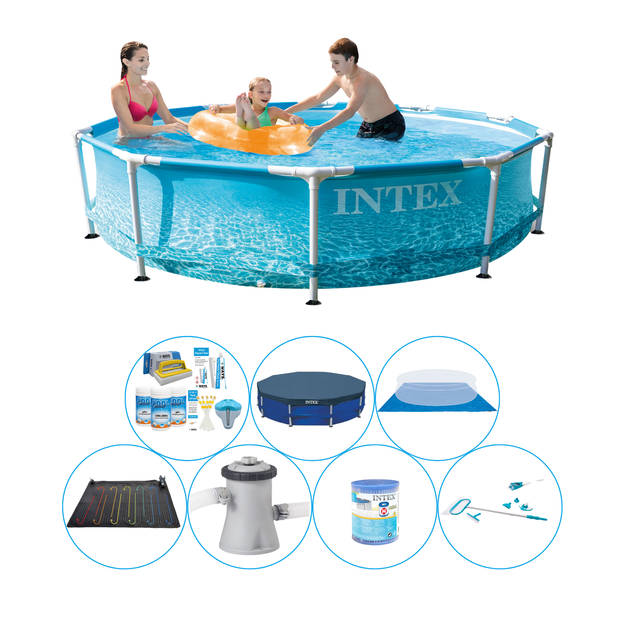 Zwembad Set - Intex Metal Frame Rond Strandzijde 305x76 cm