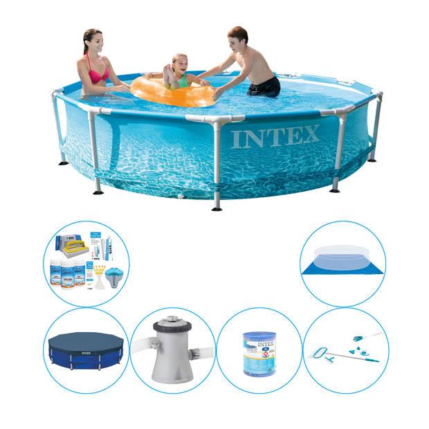 Zwembad Met Accessoires - Intex Metal Frame Rond Strandzijde 305x76 cm