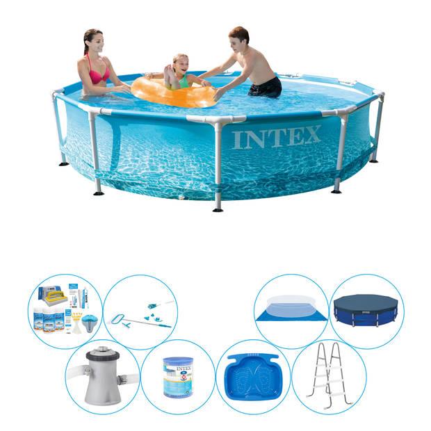 Alles in 1 Zwembad Pakket - Intex Metal Frame Rond Strandzijde 305x76 cm