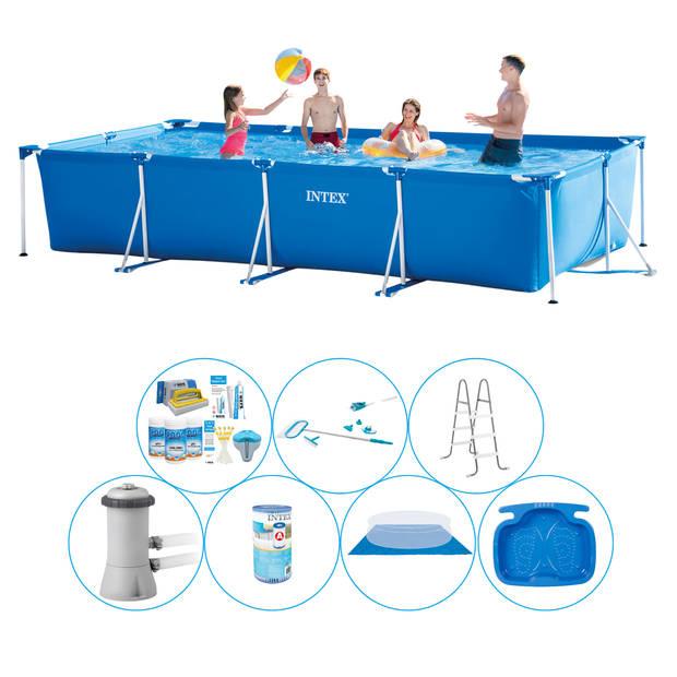 Intex Frame Pool Rechthoekig 450x220x84 cm - 8-delig - Alles in 1 Zwembad Pakket