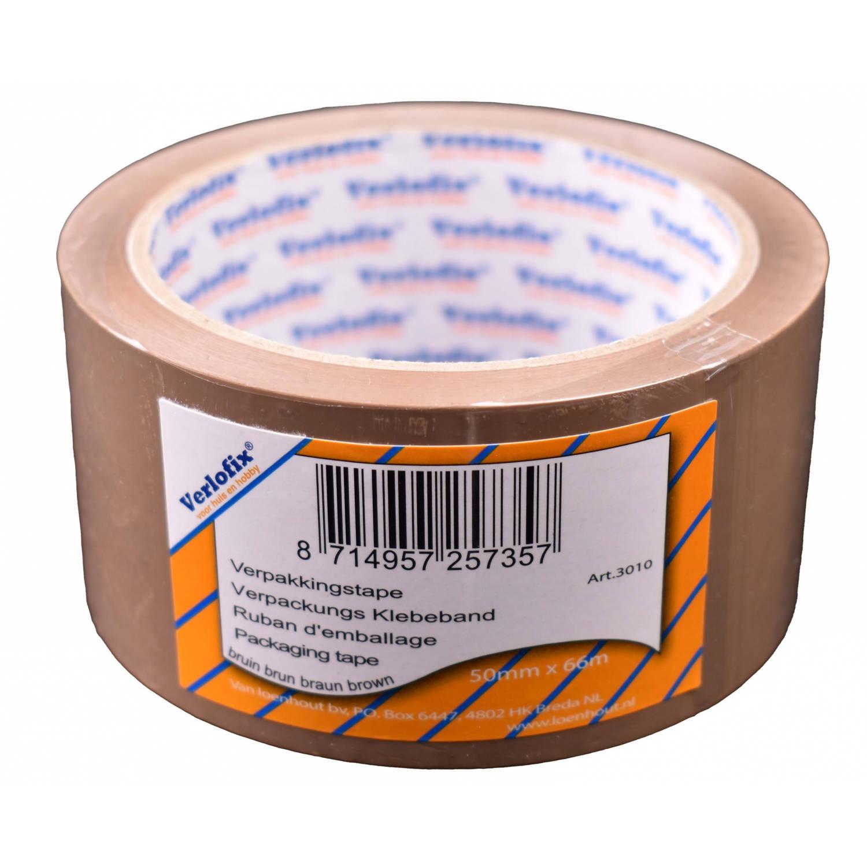 Korting Verlofix Verpakkingstape 50 Mm X 66 M Polypropyleen Bruin
