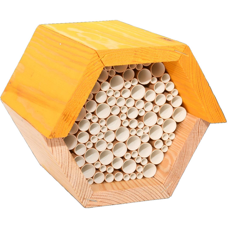 Esschert Design Bijenhuis 14,6 X 14,8 Cm Hout Naturel/geel online kopen
