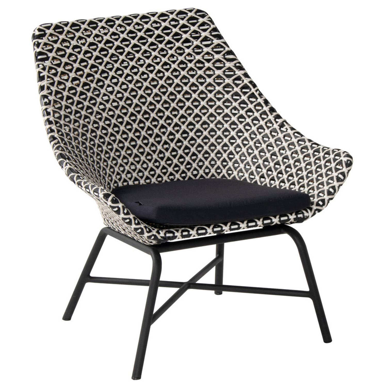 Hartman Delphine Wicker Loungestoel - Zwart /Wit - Aluminium Onderstel