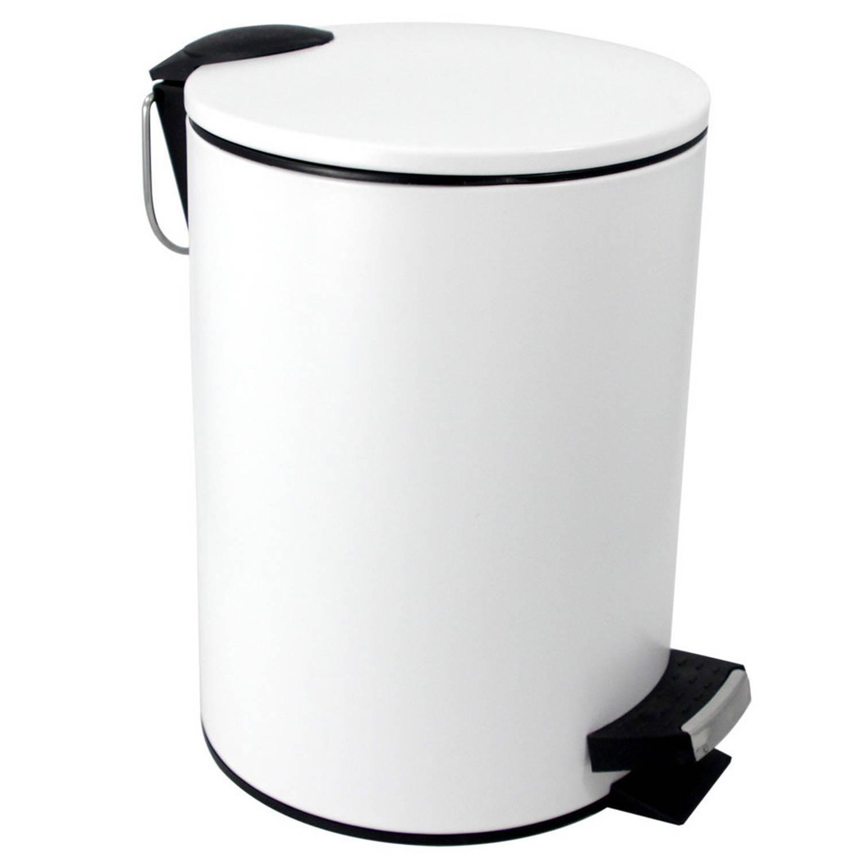 Vuilnisbak/pedaalemmer Wit 3 Liter 25 Cm - Prullenbakken