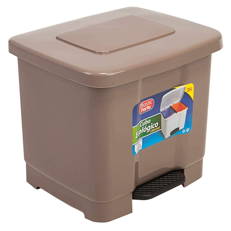 Dubbele Afvalemmer/vuilnisemmer 35 Liter Met Deksel En Pedaal - Taupe- Vuilnisbakken/prullenbakken -