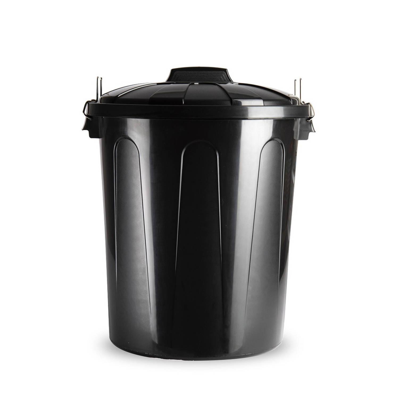 Kunststof Afvalemmers/vuilnisemmers In Het Zwart Van 51 Liter Met Deksel - Vuilnisbakken/prullenbakk