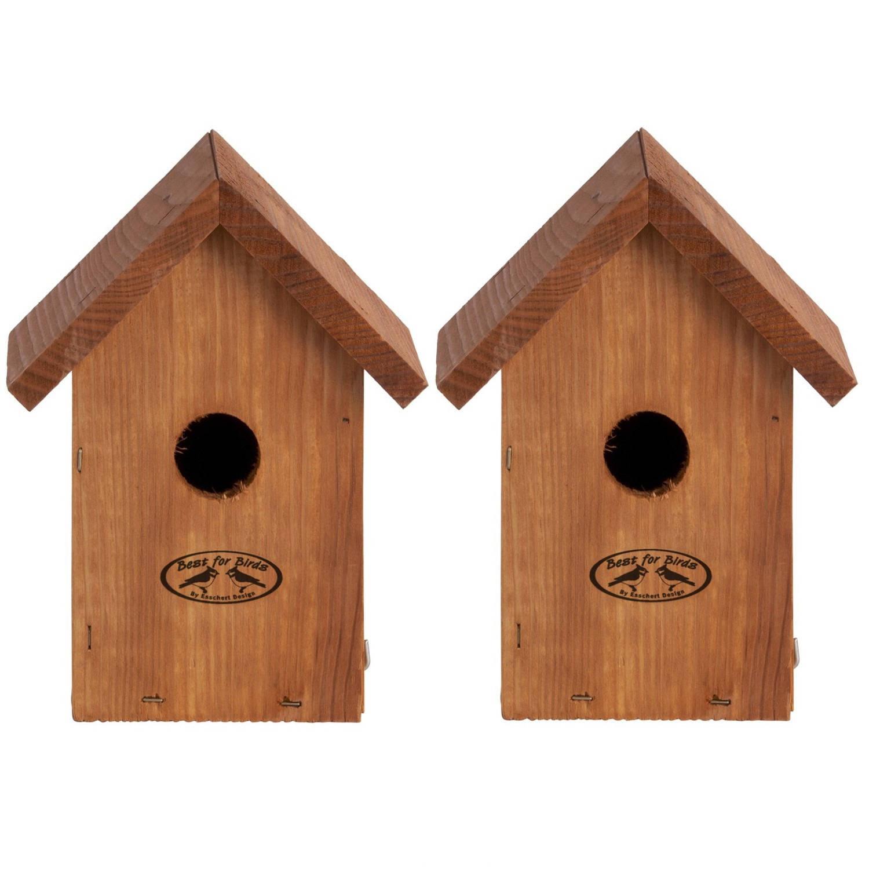 Merkloos 2x Stuks Houten Vogelhuisje/nestkastje Winterkoning Tuinvogels Nestkast Vogelhuisjes online kopen