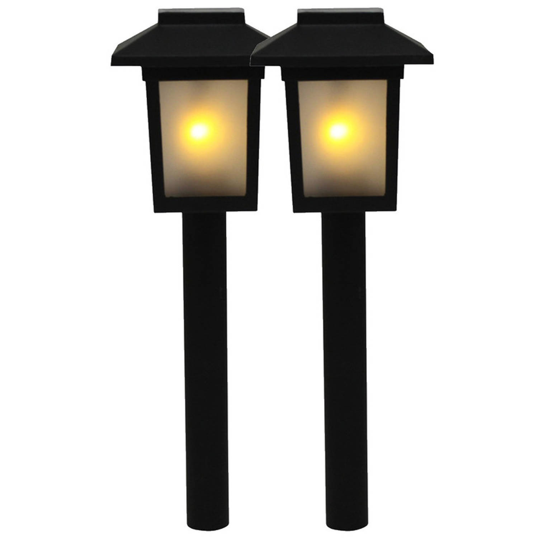 2x Tuinlamp Fakkel Tuinverlichting Met Vlam Effect 345 Cm Prikspotjes