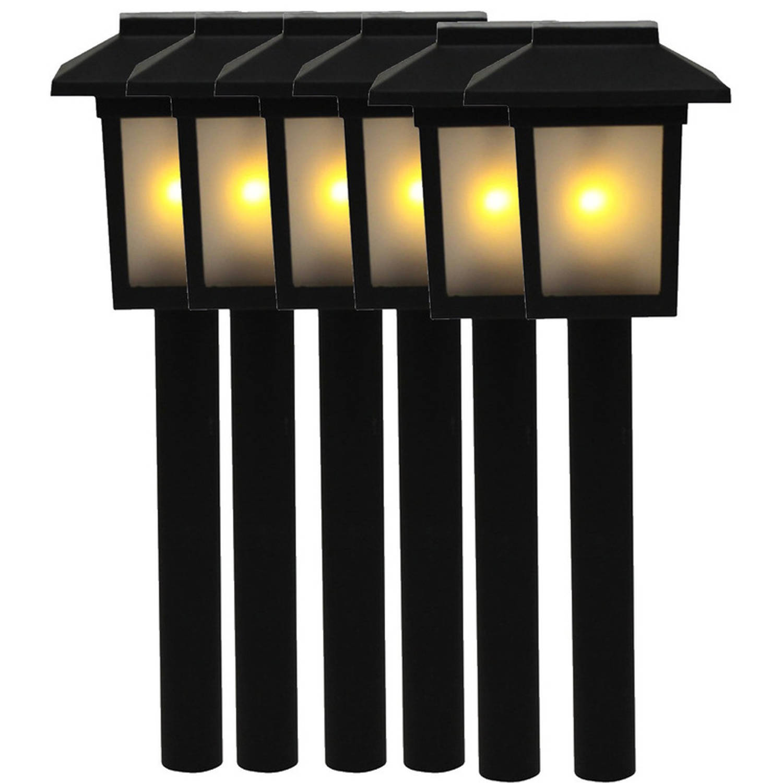 6x Tuinlamp Fakkel Tuinverlichting Met Vlam Effect 345 Cm Prikspotjes