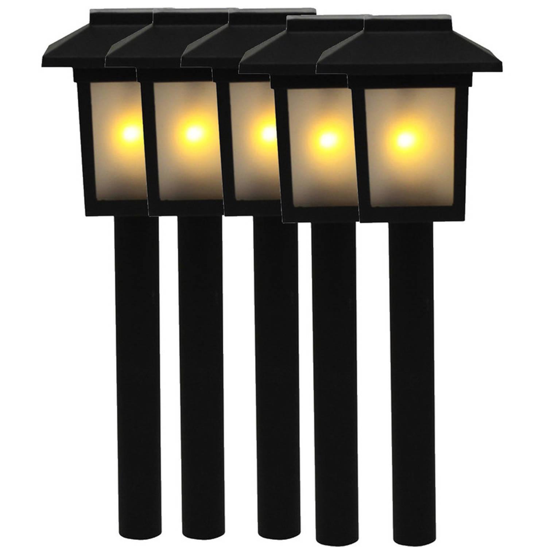 5x Tuinlamp Fakkel Tuinverlichting Met Vlam Effect 345 Cm Prikspotjes