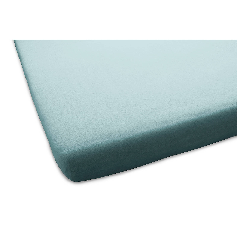 Korting Home Ideas Aanbieding 1 plus 1 Gratis Molton Flanel Stretch Hoeslaken Turquoise 90 100x190 200cm