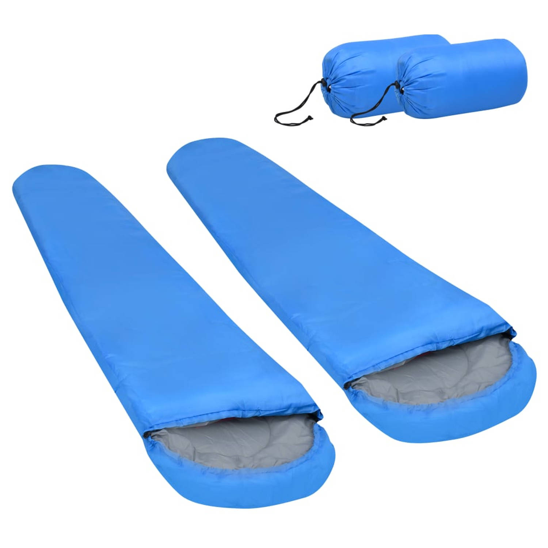 vidaXL Slaapzakken 2 st lichtgewicht 15 ℃ 850 g blauw