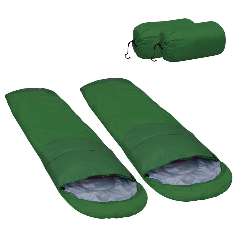 vidaXL Slaapzakken 2 st lichtgewicht 15 ℃ 850 g groen