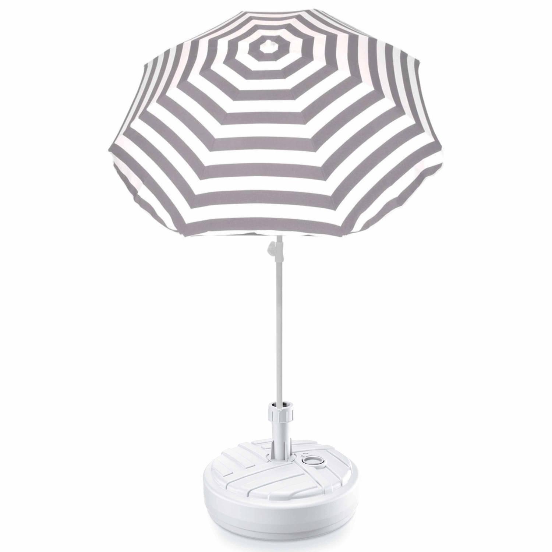 Grijs Gestreepte Strand/tuin Basic Parasol Van Nylon 180 Cm + Parasolvoet Wit - Parasols