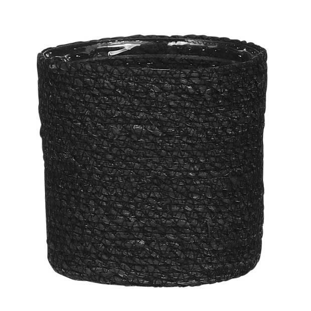Naturel zwart rotan planten/bloemen pot mand van gedraaid jute/riet/zeegras H14 en D14 cm - Met plastic binnenkant