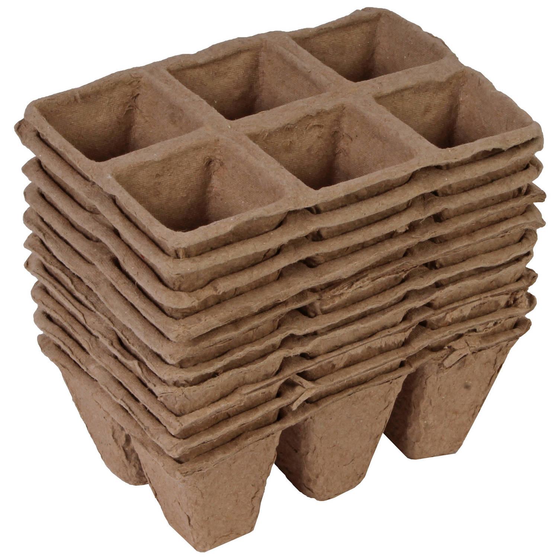 10x Stuks Houtvezel Kweekpotjes stekpotjes Trays Met 6 Vakjes 5 X 5 Cm Kweekbak Accessoires