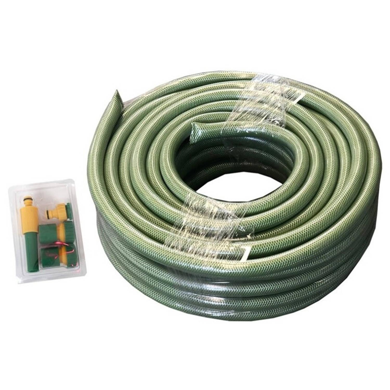 Groene Tuinslang Set Met Koppelingen En Verstelbare Spuit - 25 Meter - Tuinbewatering
