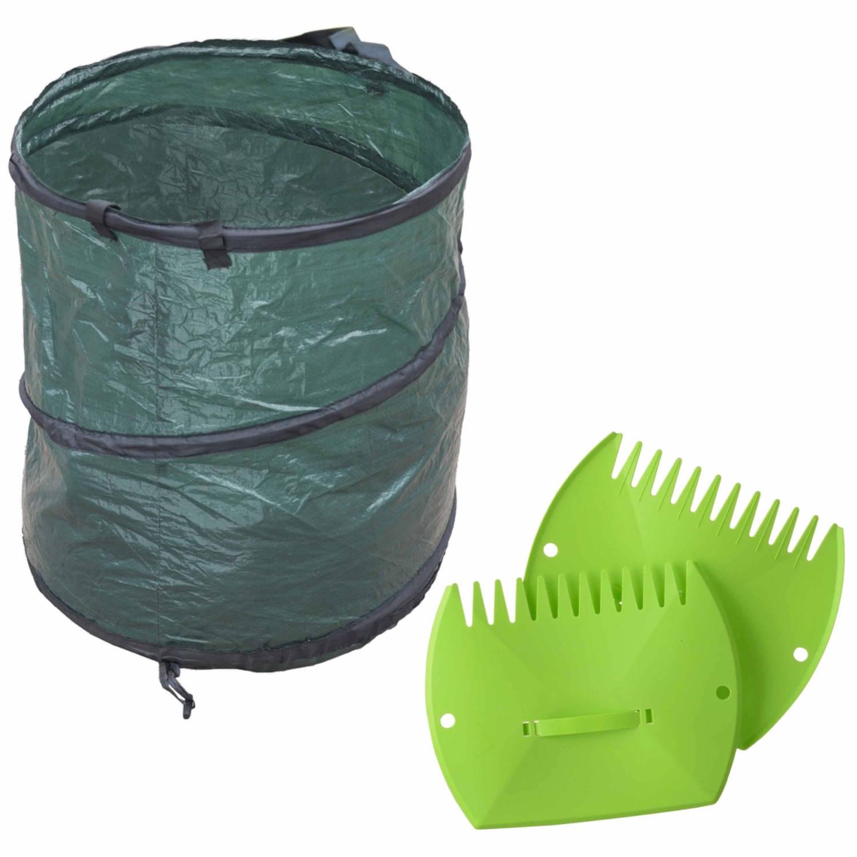 Groene Tuinafvalzak Opvouwbaar 90 Liter Met Een Setje Bladharken tuinafval Grijpers Tuinieren Opharken