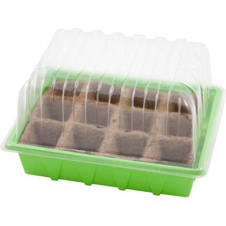 Kweekbak kweekkastje Met Deksel 13 X 38 X 24 Cm Propagator moestuinbak Inclusief Houtvezel Tray Met 28 Kweekpotjes