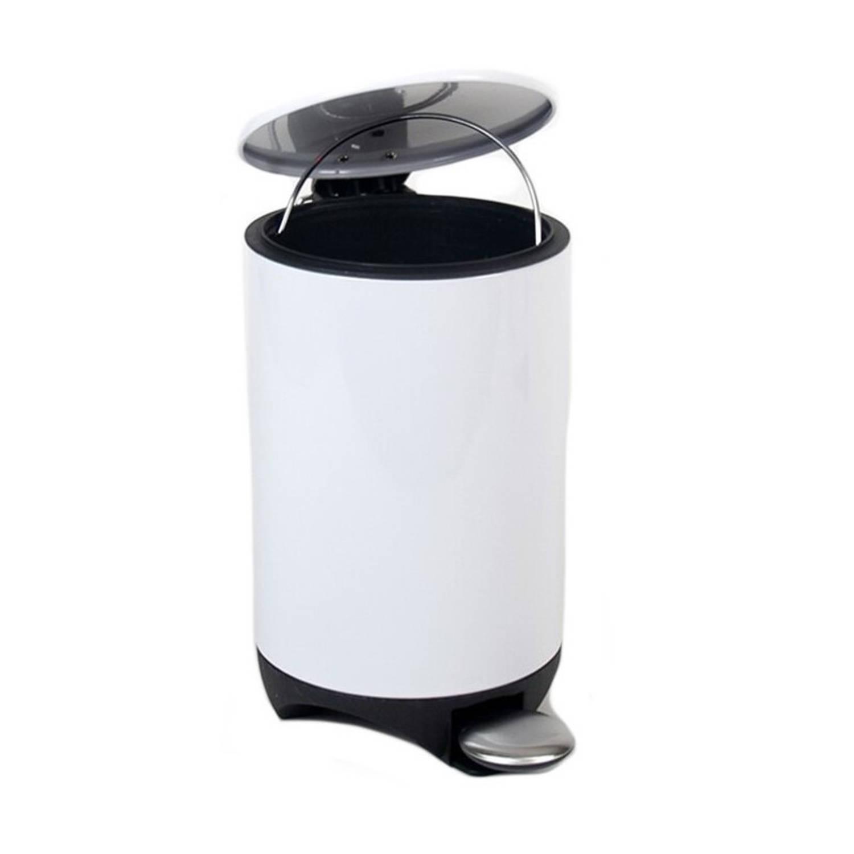 Kunststof Vuilnisbak/pedaalemmer Wit 3 Liter 28 Cm - Kleine Prullenbakken