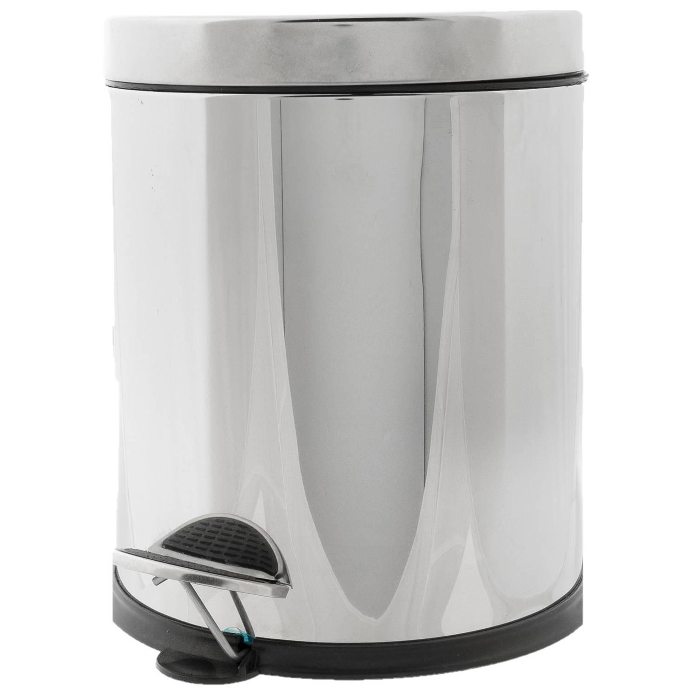 Vuilnisbak/pedaalemmer Zilver 5 Liter 25 Cm Rvs - Afvalemmers - Prullenbakken