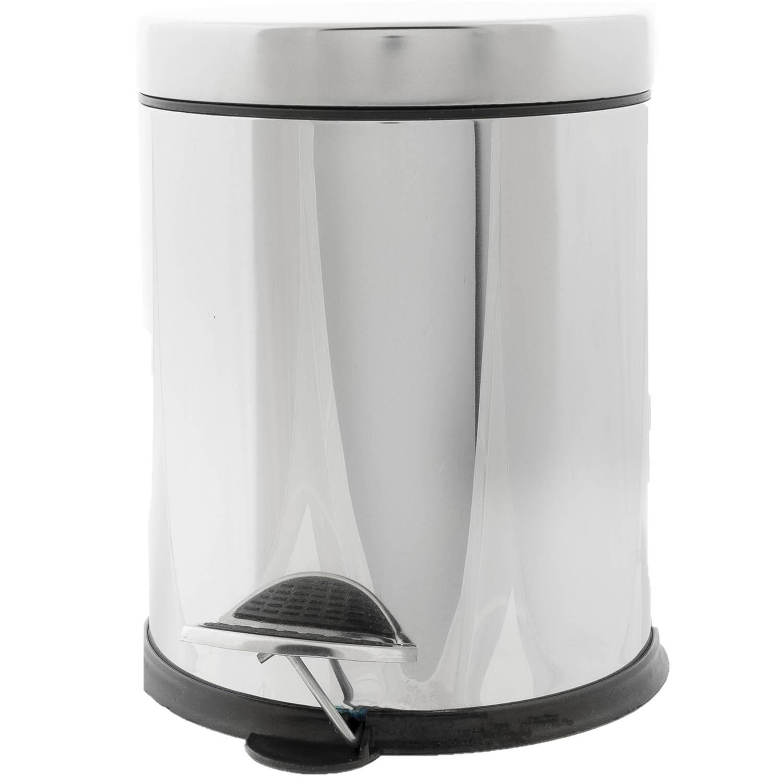 Vuilnisbak/pedaalemmer Zilver 5 Liter 24 Cm Rvs - Afvalemmers - Prullenbakken