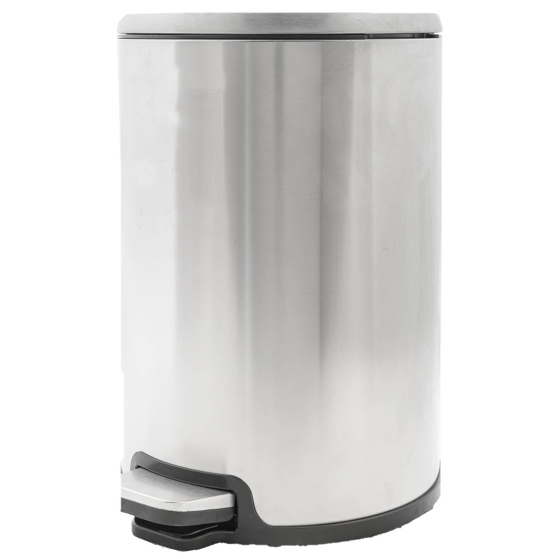 Vuilnisbak/pedaalemmer Zilver 12 Liter 35 Cm Rvs - Afvalemmers - Prullenbakken