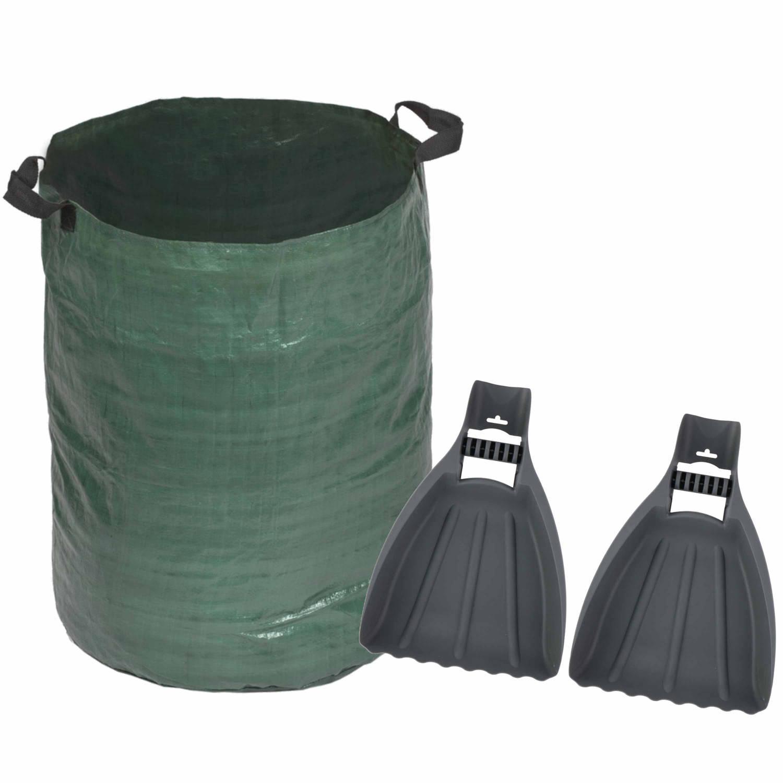 Groene Tuinafvalzak Opvouwbaar 120 Liter Met Een Setje Bladharken tuinafval Grijpers Tuinieren Opharken