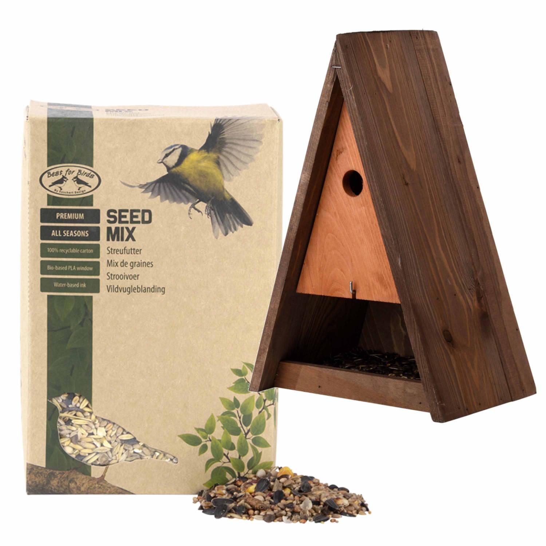 Best For Birds Houten Vogelhuisje/nestkast Bruin 40 Cm Met Vogel Strooivoer 2,5 Kg Vogelhuisjes online kopen