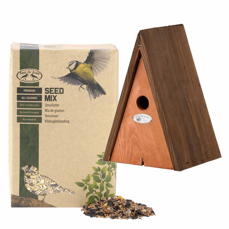 Best For Birds Houten Vogelhuisje/nestkast Wigwam Bruin 27 Cm Met Vogel Strooivoer 2,5 Kg Vogelhuisjes online kopen