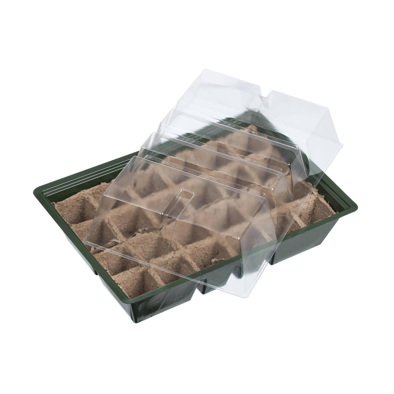 Kweekbak kweekkastje Met Deksel 14 X 33 X 23 Cm Propagator moestuinbak Inclusief Houtvezel Tray Met 24 Kweekpotjes