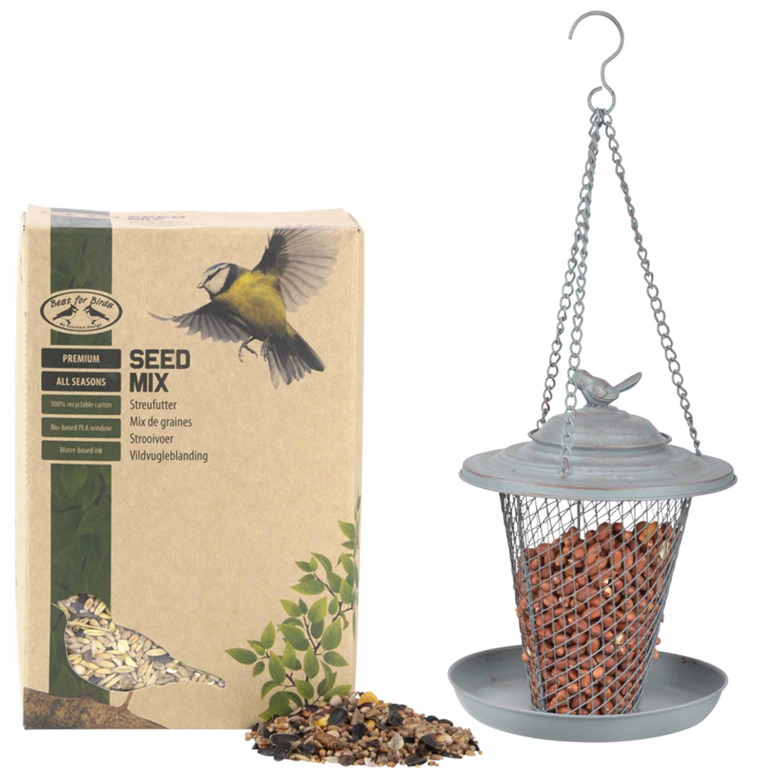 Best For Birds Metalen Vogel Voedersilo/voederkooi Grijs Met Opvangschotel 27 Cm En Met Vogel Strooivoer 2,5 Kg Zangvogels Voederen online kopen
