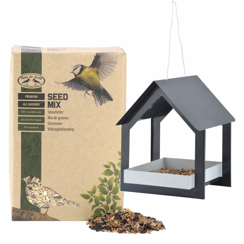 Best For Birds Metalen Vogelhuisje/voedertafel Hangend Antraciet 23 Cm Met Vogel Strooivoer 2,5 Kg Vogelvoederhuisjes online kopen