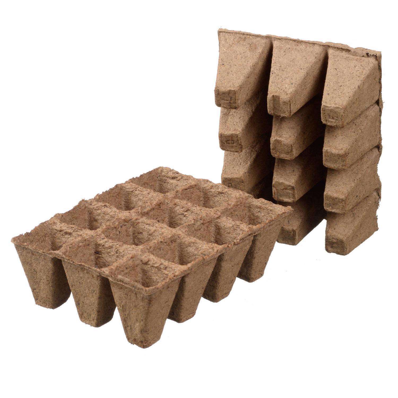 6x Stuks Houtvezel Kweekpotjes stekpotjes Trays Met 12 Vakjes 5 X 4 Cm Kweekbak Accessoires