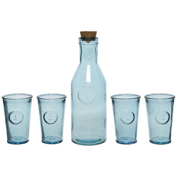 Giftbox met sap/limonade/water karaf en 4x luxe drink glazen - Vaderdag/Moederdag cadeau tip
