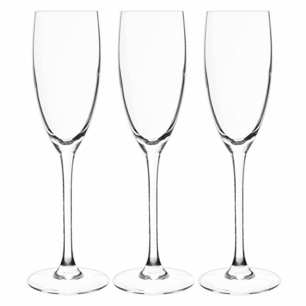 6x Stuks champagneglazen van glas 160 ml - Champagneglazen