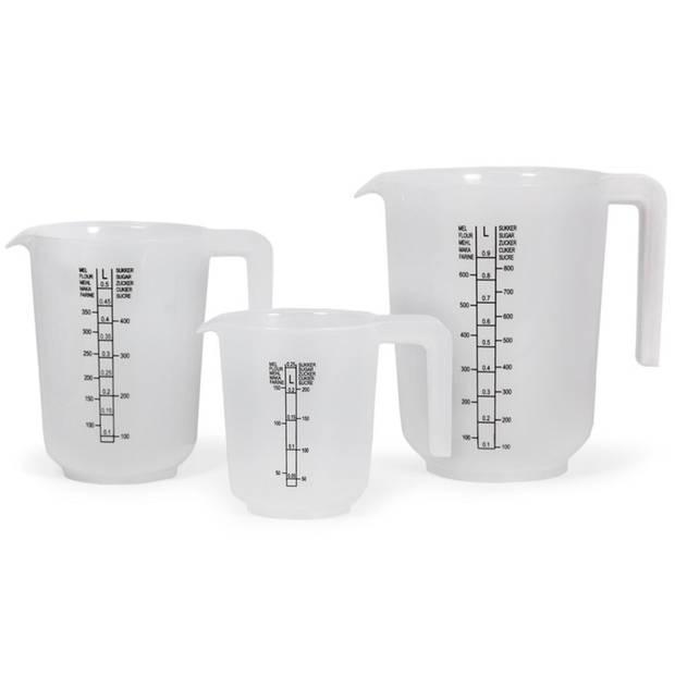 Kunststof maatbekers set transparant 3 stuks 1/0.5/0.25 liter