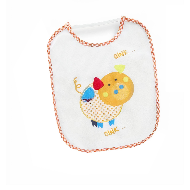 Korting Interbaby Slabbetje Varken Junior 20 X 25 Cm Katoen Wit oranje