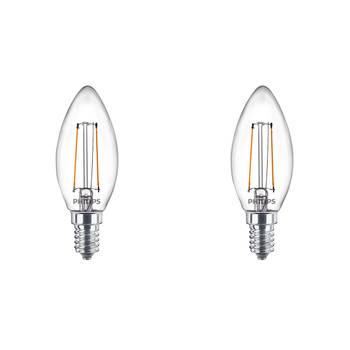Korting Philips Led Lamp Filament Set 2 Stuks Classic Ledcandle 827 B35 Cl E14 Fitting 2w Warm Wit 2700k Vervangt