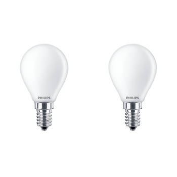 Korting Philips Led Lamp Set 2 Stuks Classic Lustre 827 P45 Fr E14 Fitting 4.3w Warm Wit 2700k Vervangt 40w