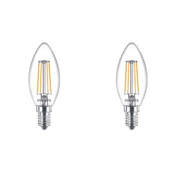 Korting Philips Led Lamp Filament Set 2 Stuks Classic Ledcandle 827 B35 Cl E14 Fitting 4.3w Warm Wit 2700k